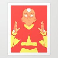aang Art Prints featuring Avatar Aang by lisaveeee