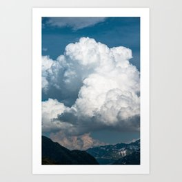 Detail view of large cumulus clouds in summer Art Print