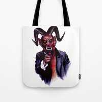 satan Tote Bags featuring Uncle Satan by Zombie Rust