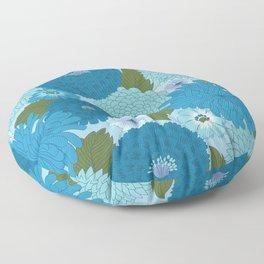 Retro Blue Floral Pattern Floor Pillow