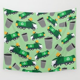 Recycling Garbage Truck Pattern Wall Tapestry