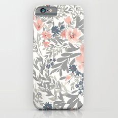 Gray and Pink Watecolor Floral Pattern Slim Case iPhone 6s