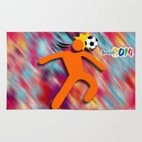soccer Area & Throw Rugs featuring Soccer Head by WIGEGA