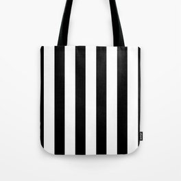 Simply Vertical Stripes in Midnight Black Tote Bag