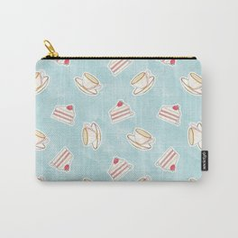Tea & Cake // Watercolor Illustration of Pink Tea Cup & a Strawberry Cake Carry-All Pouch