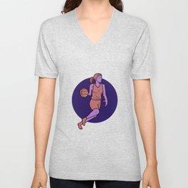 Woman Basketball Player Dribbling Mono Line Art Unisex V-Neck