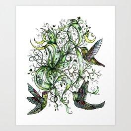 Hummingbird Garden Party Art Print