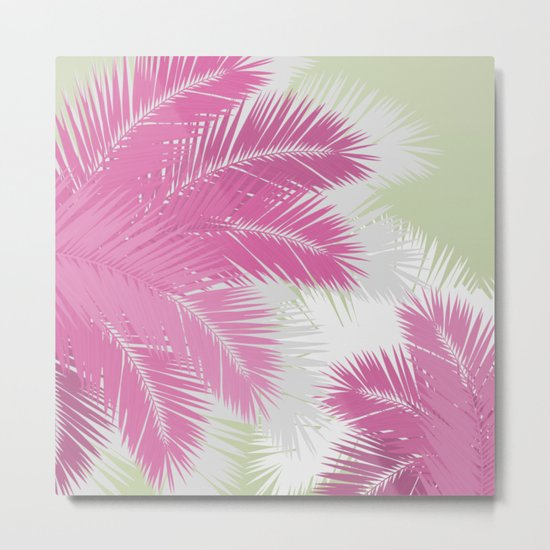 PINK TROPICAL PALM TREES Metal Print