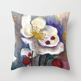 Lady Birds, Strawberry Flowers Throw Pillow