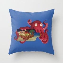 World in bottle: Atalantis (Octopus - monster) Throw Pillow