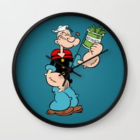popeye Wall Clocks featuring Popeye the Sailor Man by CromMorc