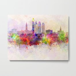 Philadelphia skyline in watercolor background Metal Print