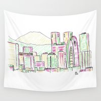 tokyo Wall Tapestries featuring Tokyo by Ursula Rodgers