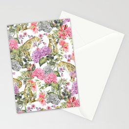 Leopards in flowery garden Stationery Cards
