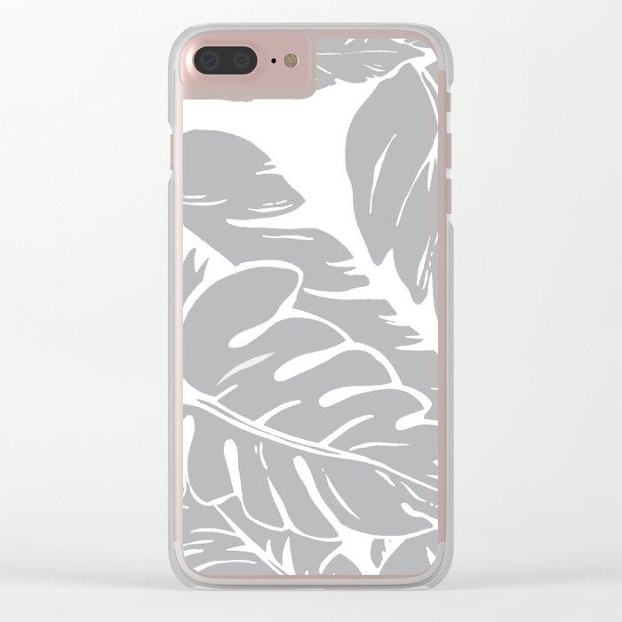 PALM LEAF GRAY Clear iPhone Case
