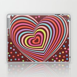 multi-colored rainbow heart on dark brown background. 3D Laptop & iPad Skin