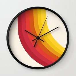 4-Sho - retro 70s style throwback vibes 1970's trendy decor art minimalist rainbow stripes Wall Clock