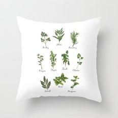 HERBS on white Throw Pillow