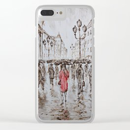 red under the rain Clear iPhone Case