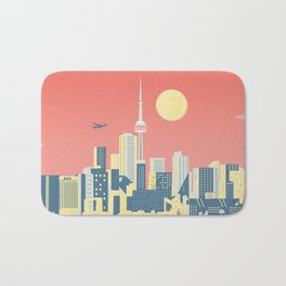 Toronto City Skyline Art Illustration - Cindy Rose Studio Bath Mat