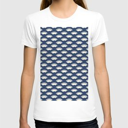 Japanese motive white and blue geometric pattern T-shirt