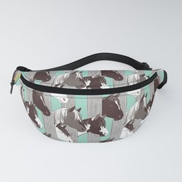 Waiting for the horse race // mint background Fanny Pack