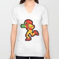 samus V-neck T-shirts featuring samus by Walter Melon