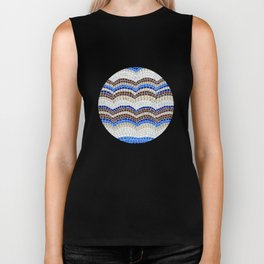 Blue antique mosaic Biker Tank