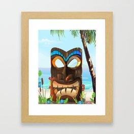 Carved wooden face Framed Art Print