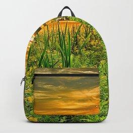 grass, river, sunset, horizon, summer Backpack