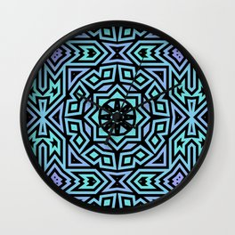 Aqua/Lilac/Black Tribal Pattern Wall Clock