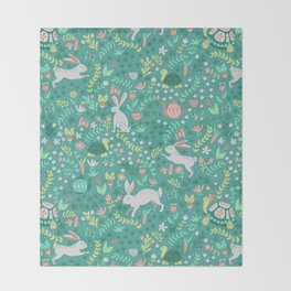 Spring Pattern of Bunnies with Turtles Throw Blanket