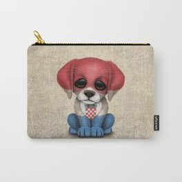 Cute Puppy Dog with flag of Croatia Carry-All Pouch