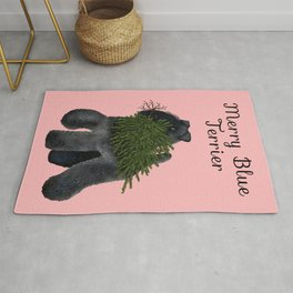 Merry Blue Terrier (Pink Background) Rug