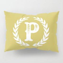Mustard Yellow Monogram: Letter P Pillow Sham