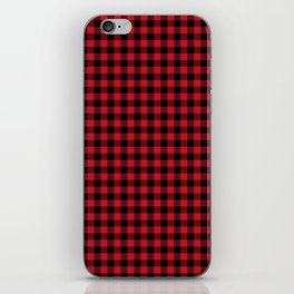Winter red and black plaid christmas gifts minimal pattern plaids checked iPhone Skin