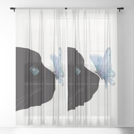 Cat and Butterfly Sheer Curtain