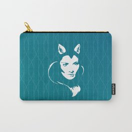Faces - foxy lady on a teal wavey background Carry-All Pouch