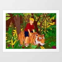 calvin and hobbes Art Prints featuring Calvin & Hobbes by Miss Pepper Cat