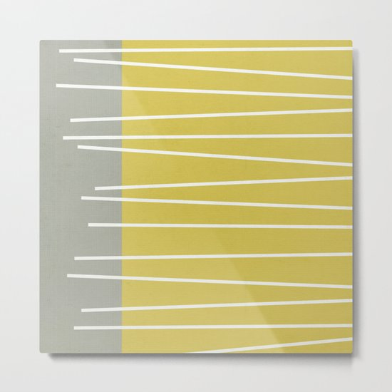 MId century modern textured stripes Metal Print