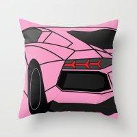 lamborghini Throw Pillows featuring Lamborghini Aventador by societystar