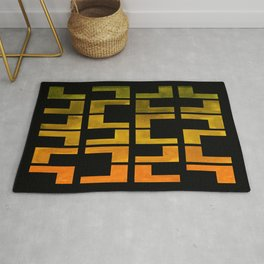 Olive green Yellow Ochre Watercolor Gouache On Black Background Geometric Pattern Midcentury Modern Rug