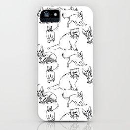 Minimal Black Line Cat Pattern iPhone Case