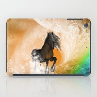 running iPad Cases featuring Running horse by nicky2342