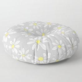 simple daisies on gray Floor Pillow