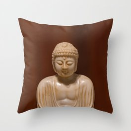 Statuette of Gautama Buddha in light marble in a prayer position Throw Pillow