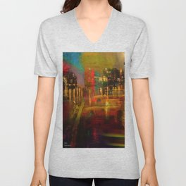 The yellow city of taxis Unisex V-Neck