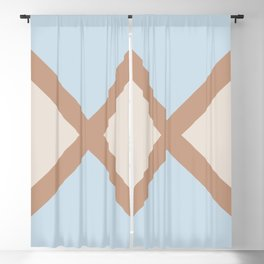 Brown Blue Off White Minimal Diagonal Line Pattern 2021 Color of the Year Canyon Dusk & Accents Blackout Curtain
