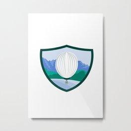 Hot Air Ballooning Sea Tree Mountains Crest Retro Metal Print