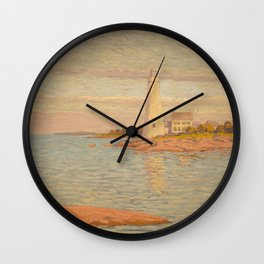 New London Connecticut Lighthouse by William Anderson Coffin Wall Clock